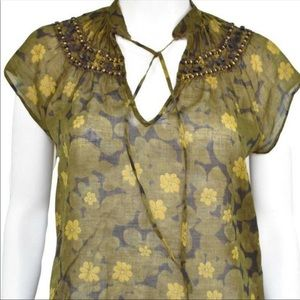 Theory Beaded Green Floral Print Cotton Blouse